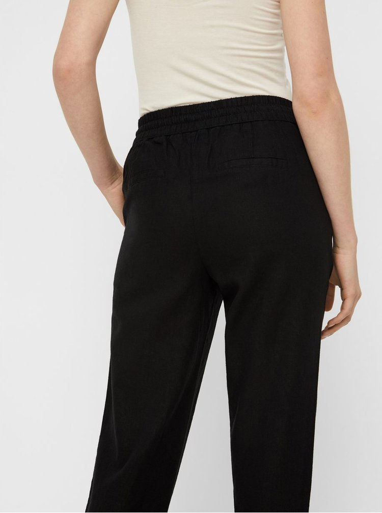 Pantaloni negri din in cu talie inalta VERO MODA Anna