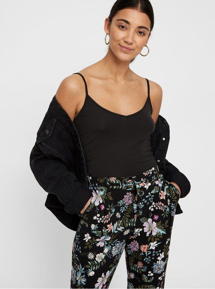 Černé květované kalhoty VERO MODA Simply Easy