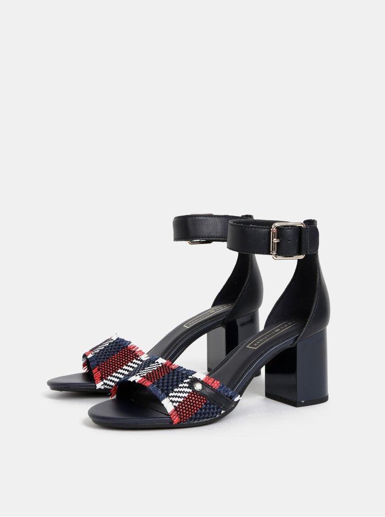 Tmavomodré kožené sandálky Tommy Hilfiger