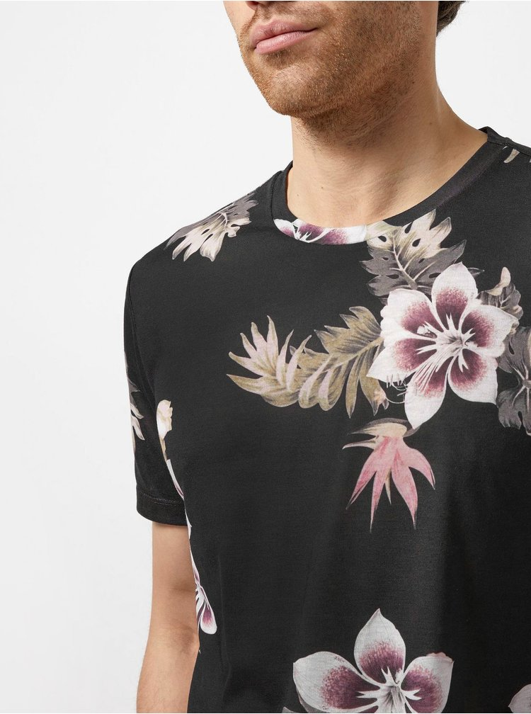 Černé květované tričko Burton Menswear London