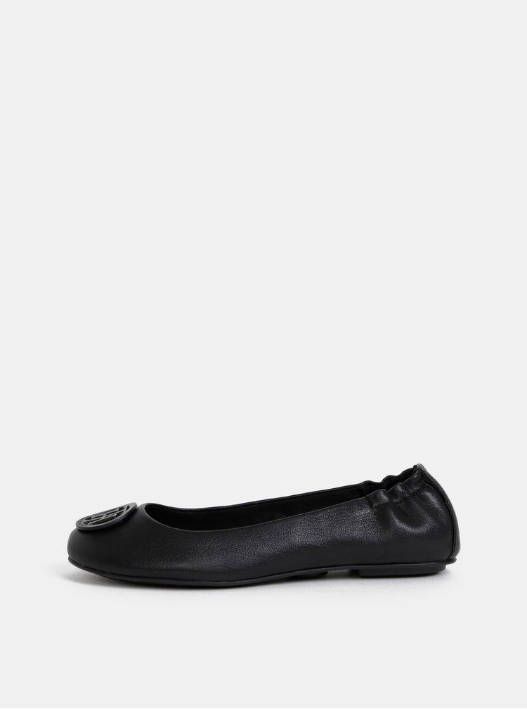 Čierne dámske kožené baleríny Tommy Hilfiger