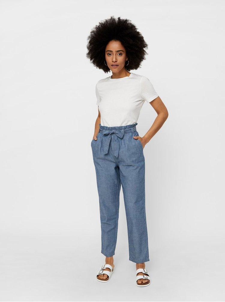 Modré zkrácené kalhoty s vysokým pasem VERO MODA Emily