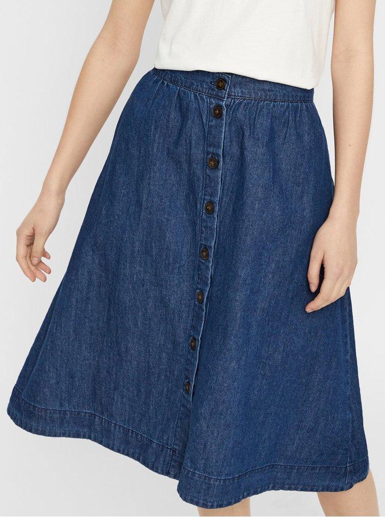 Tmavě modrá džínová sukně s knoflíky VERO MODA Flavia