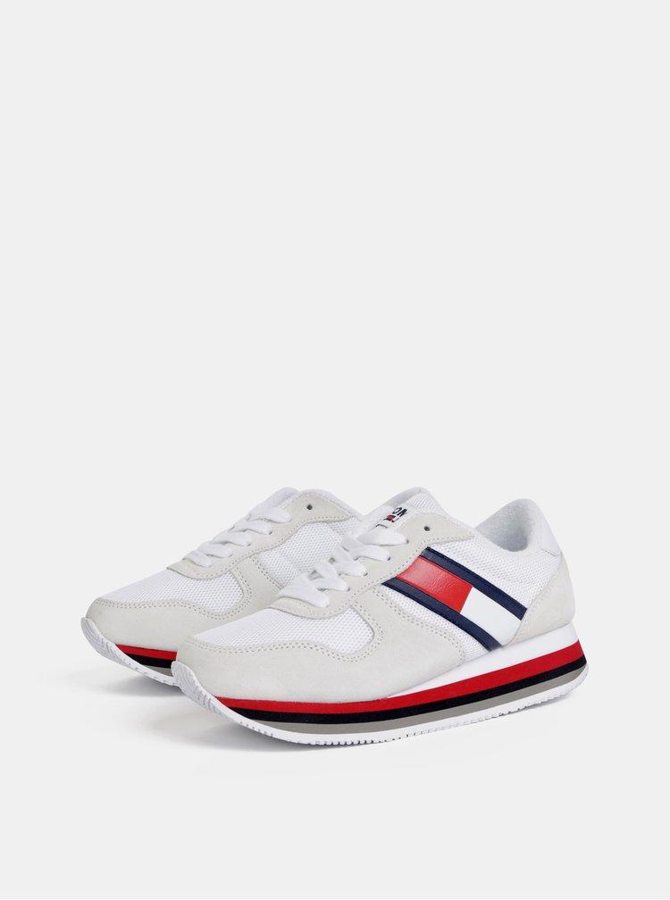 Krémovo–biele dámske tenisky so semišovými detailmi Tommy Hilfiger