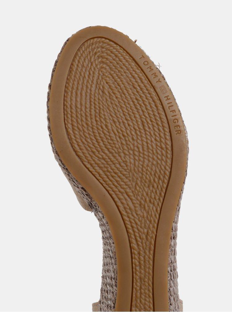 Svetlohnedé sandálky na plnom podpätku Tommy Hilfiger