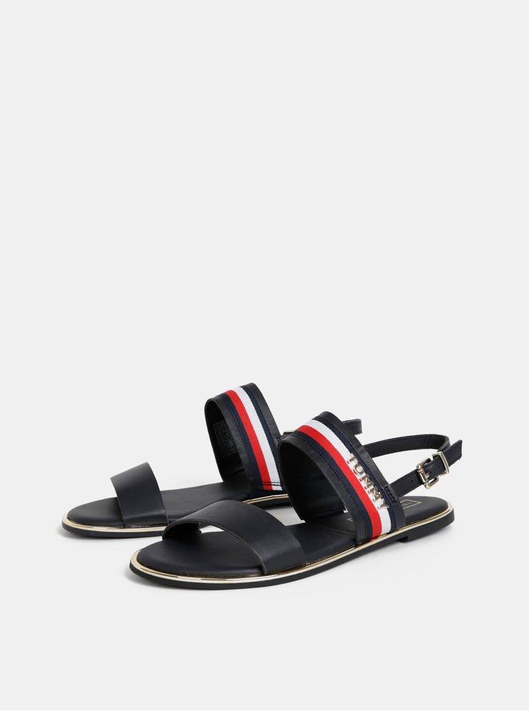 Tmavomodré dámske kožené sandále Tommy Hilfiger