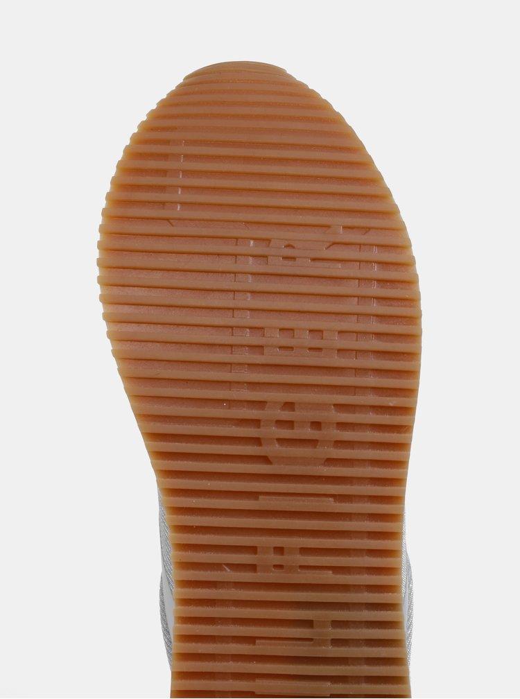 Dámske tenisky v striebornej farbe so semišovými detailmi Tommy Hilfiger