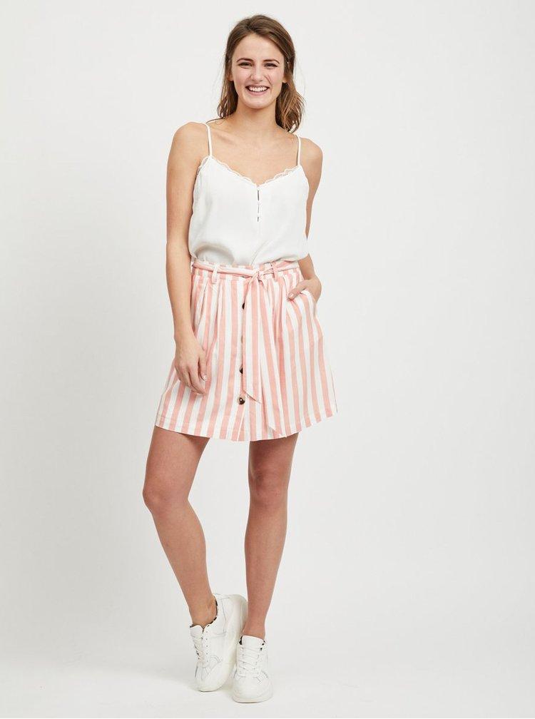 Krémovo–ružová pruhovaná sukňa VILA Harper