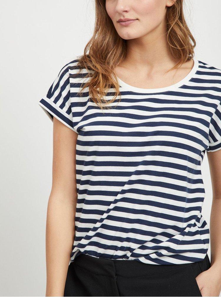 Bílo-modré pruhované basic tričko VILA Dreamers