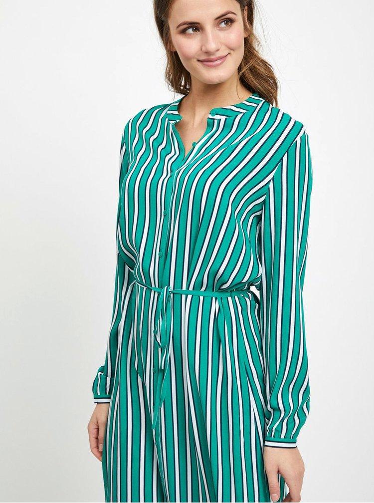Zelené pruhované košilové šaty VILA Linetta