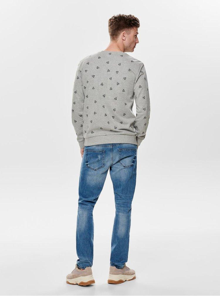 Bluza sport gri deschis cu model ONLY & SONS Opus
