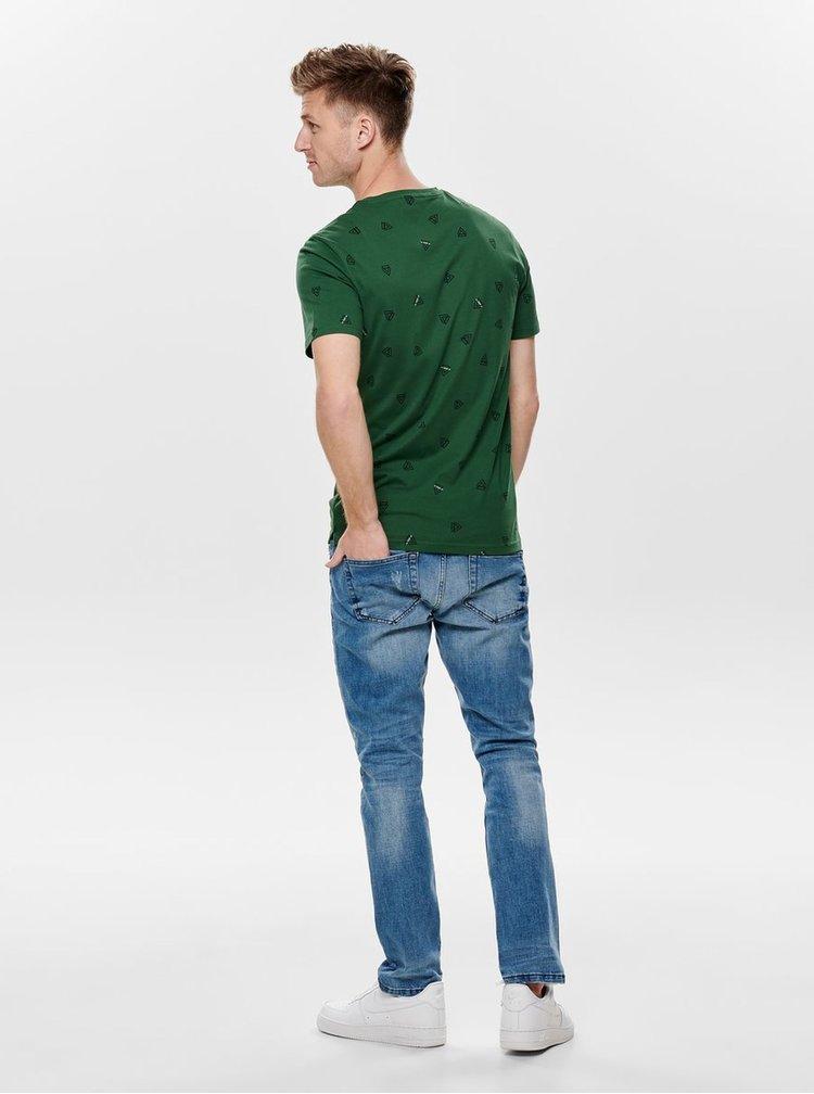 Zelené tričko s potiskem ONLY & SONS Epus