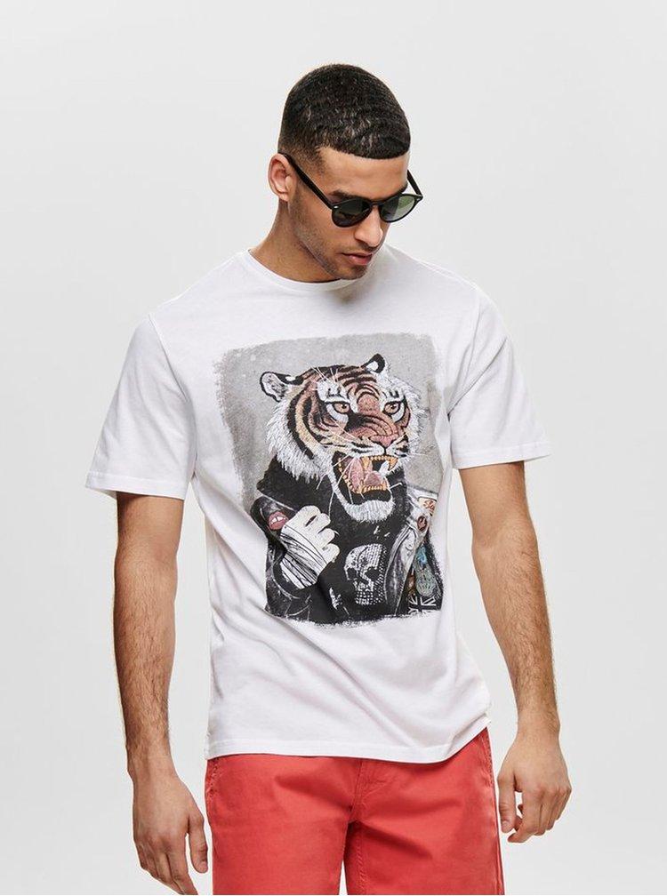 Tricou alb cu imprimeu ONLY & SONS Loris
