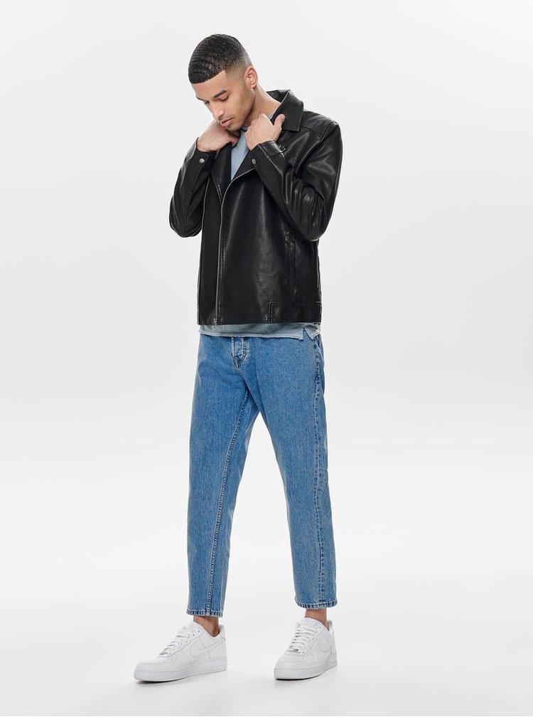 Čierna koženková bunda ONLY & SONS Mike