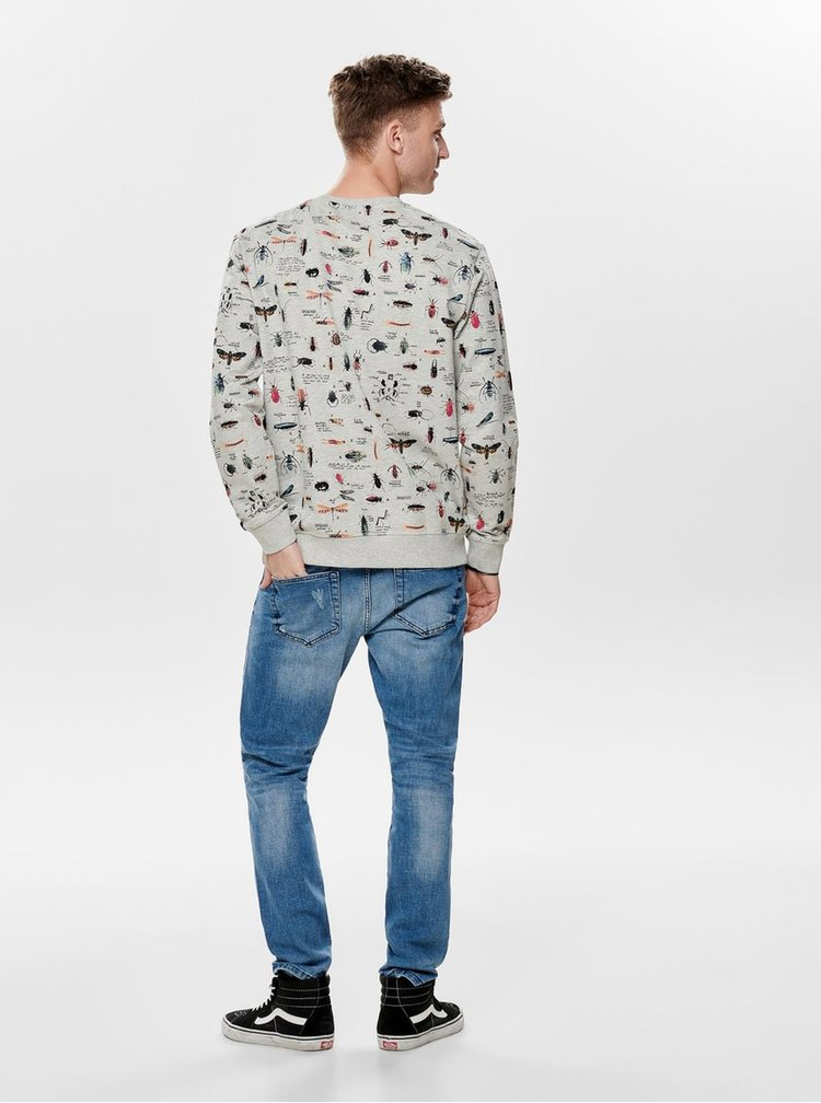 Bluza sport gri deschis cu model ONLY & SONS Owers