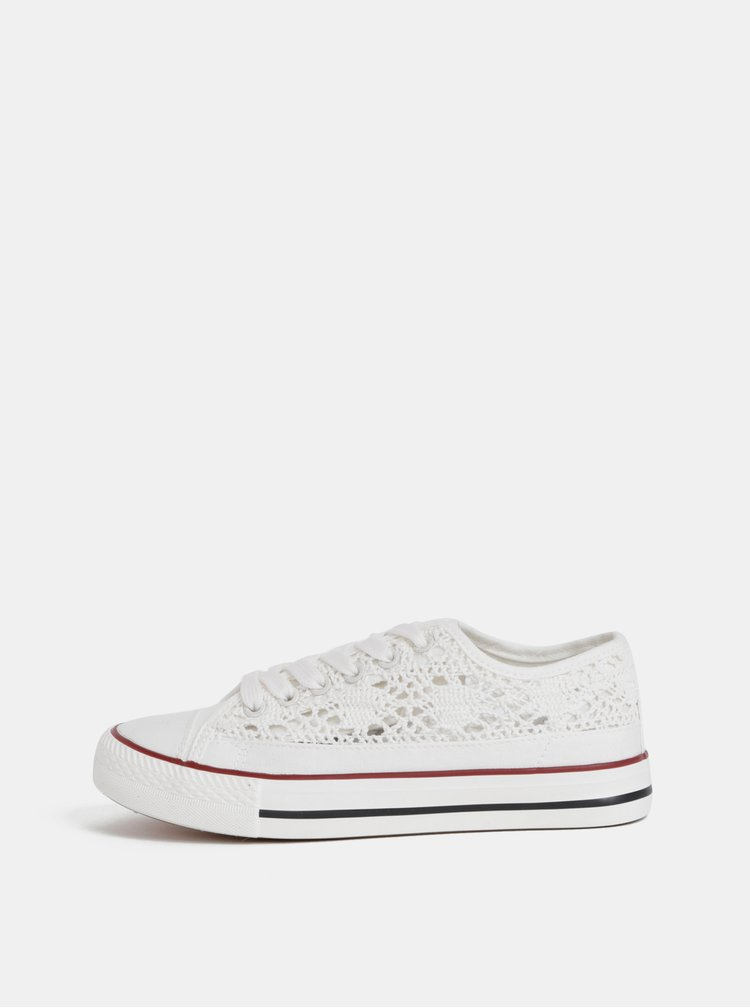 Biele dámske krajkové tenisky Haily´s Lacy