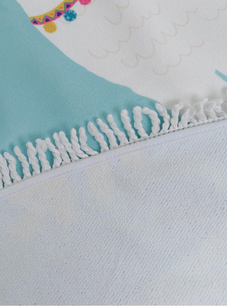Modrá kulatá plážová deka Haily´s Llama