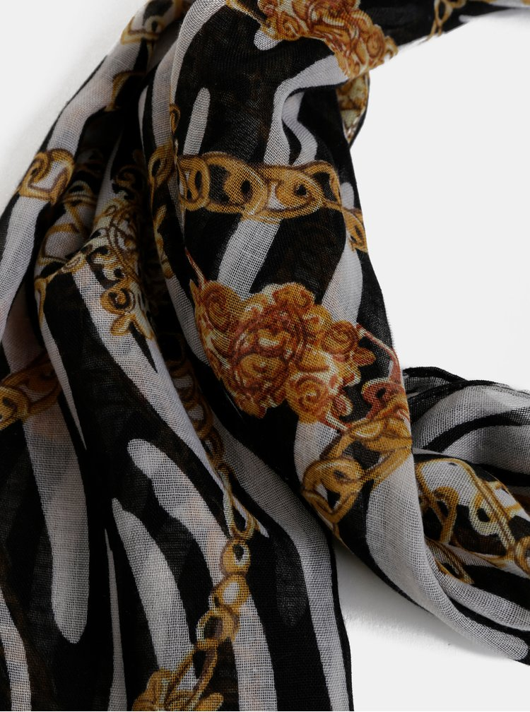 Hnědo-černý vzorovaný šátek Haily´s Chain