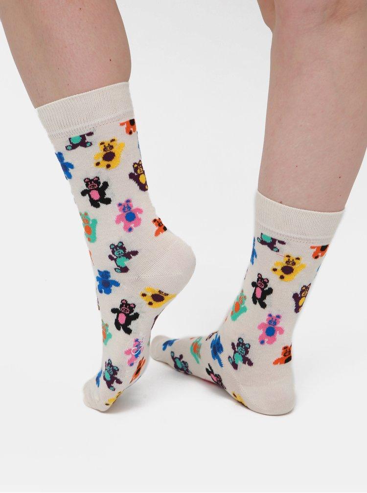 Krémové dámské vzorované ponožky Happy Socks