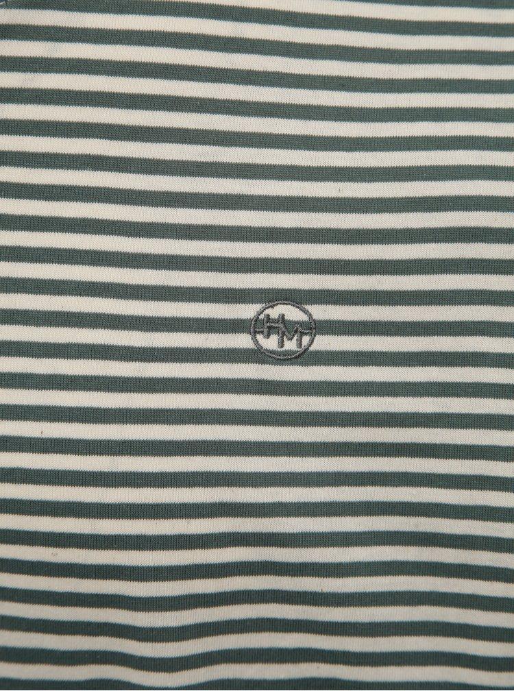 Krémovo-zelené pánské pruhované tričko Haily´s Tony
