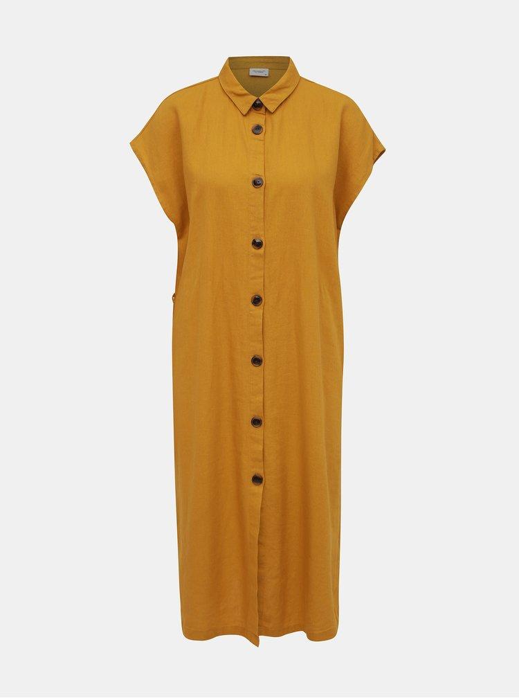 Hořčicové lněné košilové šaty Jacqueline de Yong Kalifa