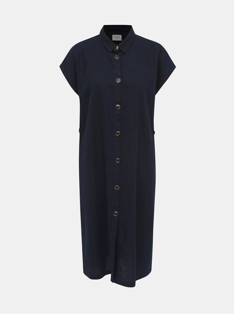 Tmavě modré lněné košilové šaty Jacqueline de Yong Kalifa