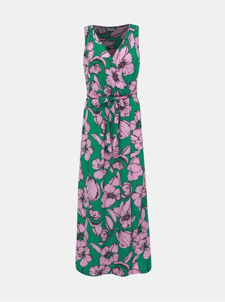 Růžovo-zelené květované maxišaty Jacqueline de Yong Kamma
