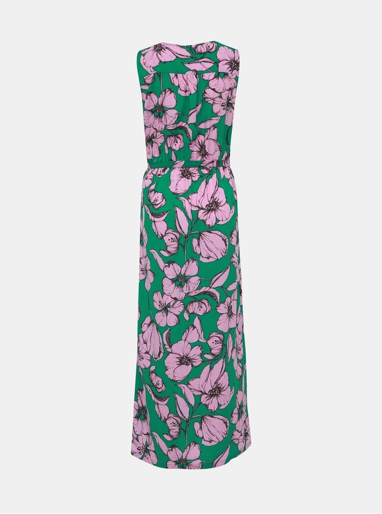 Rúžovo-zelené kvetované maxišaty Jacqueline de Yong Kamma