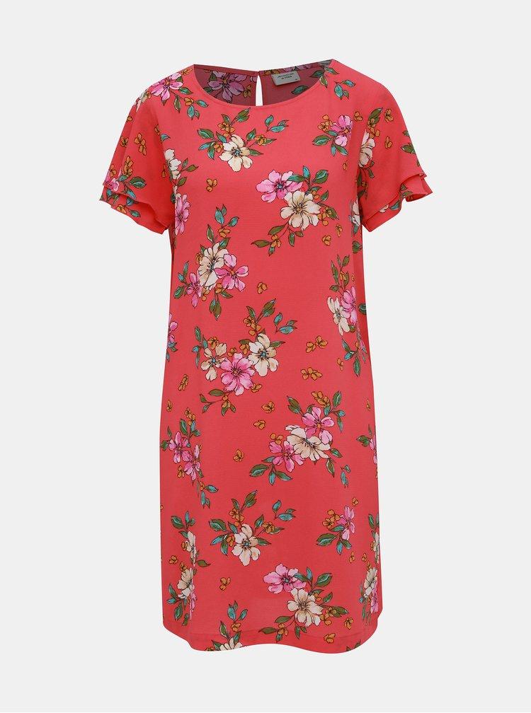 Rúžové kvetované šaty Jacqueline de Yong Trick
