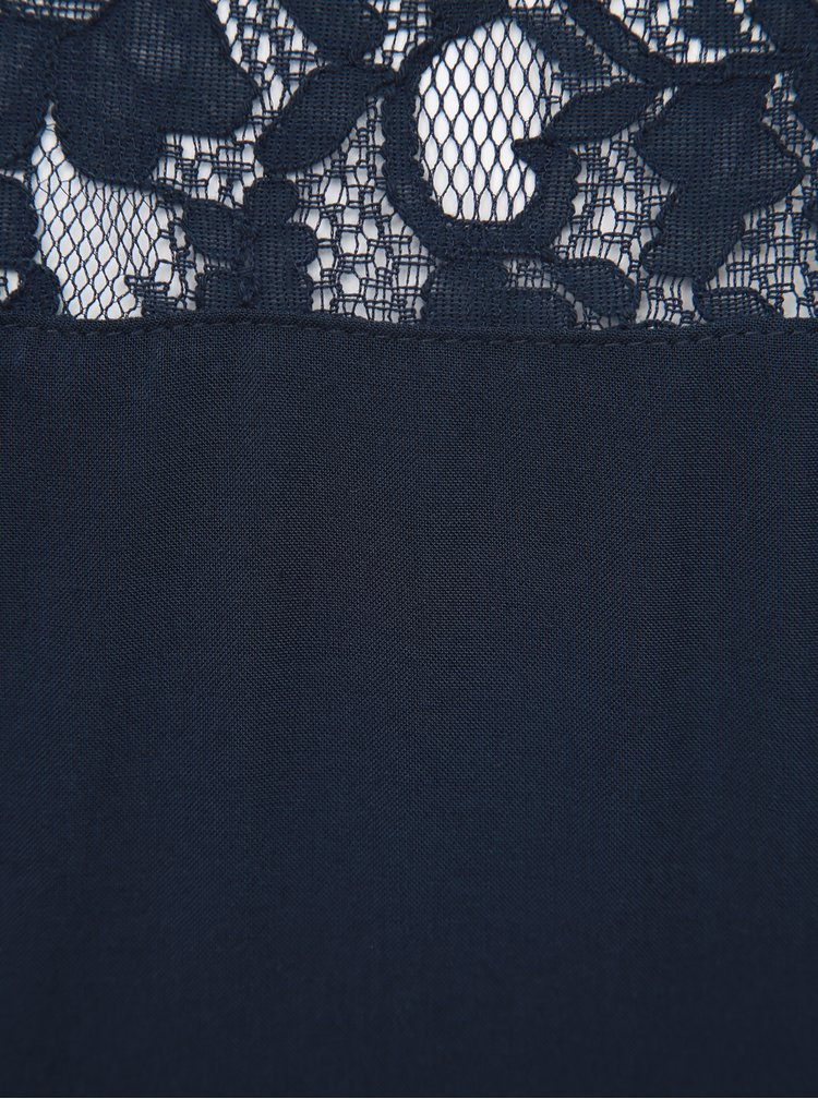 Tmavě modrý top s krajkou Jacqueline de Yong Famous