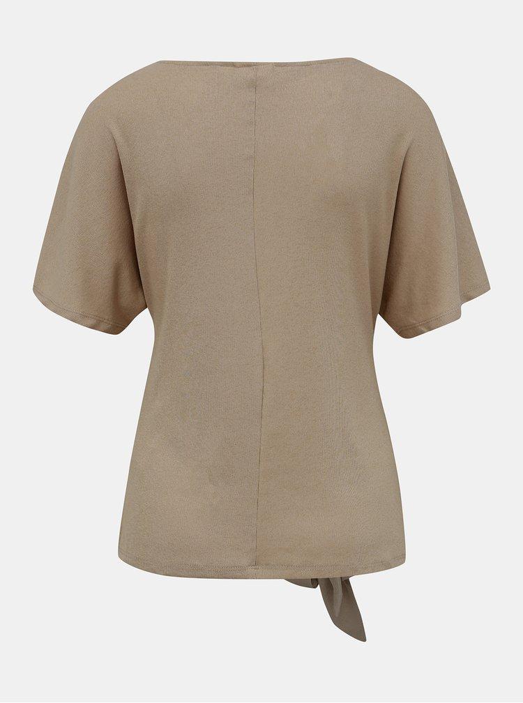Svetlohnedé tričko s mašľou VILA Namina