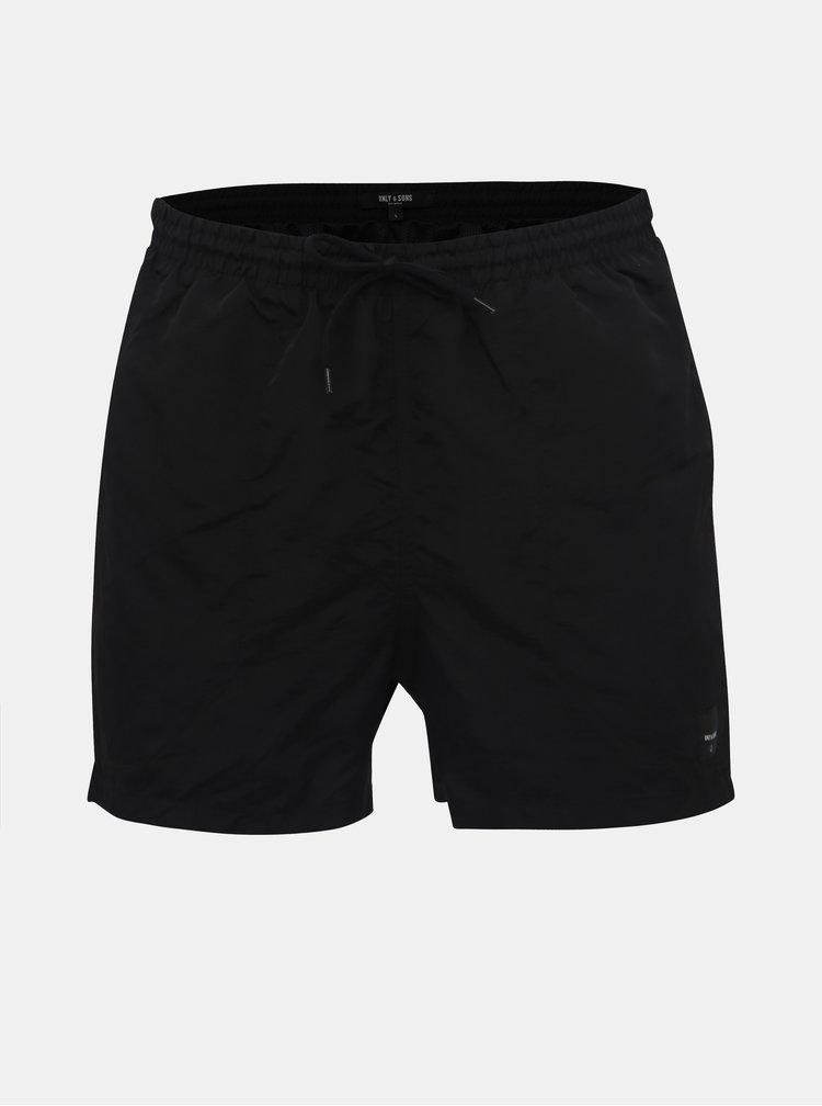 Čierne basic plavky ONLY & SONS Tino