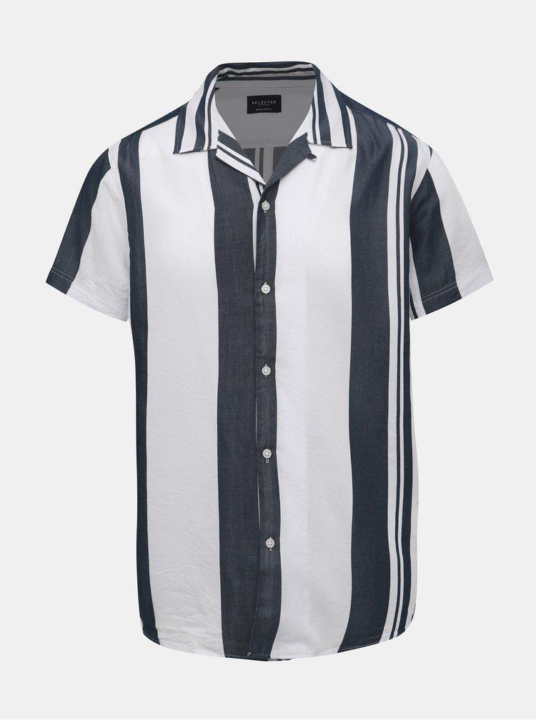 Šedo-bílá pruhovaná regular fit košile Selected Homme Kevin