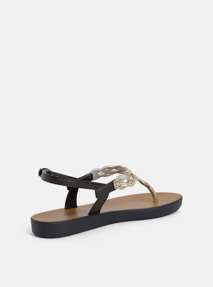 Sandály v čierno-zlatej farbe Grendha Sonhadora