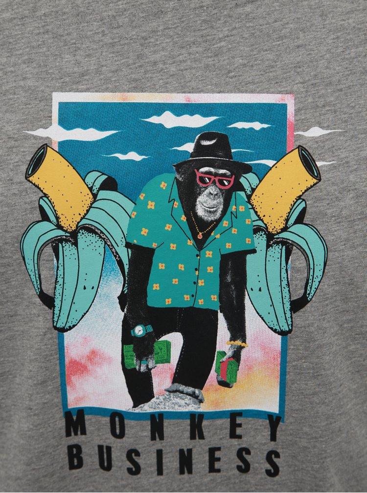 Šedé tričko s potiskem Jack & Jones Funny Mal