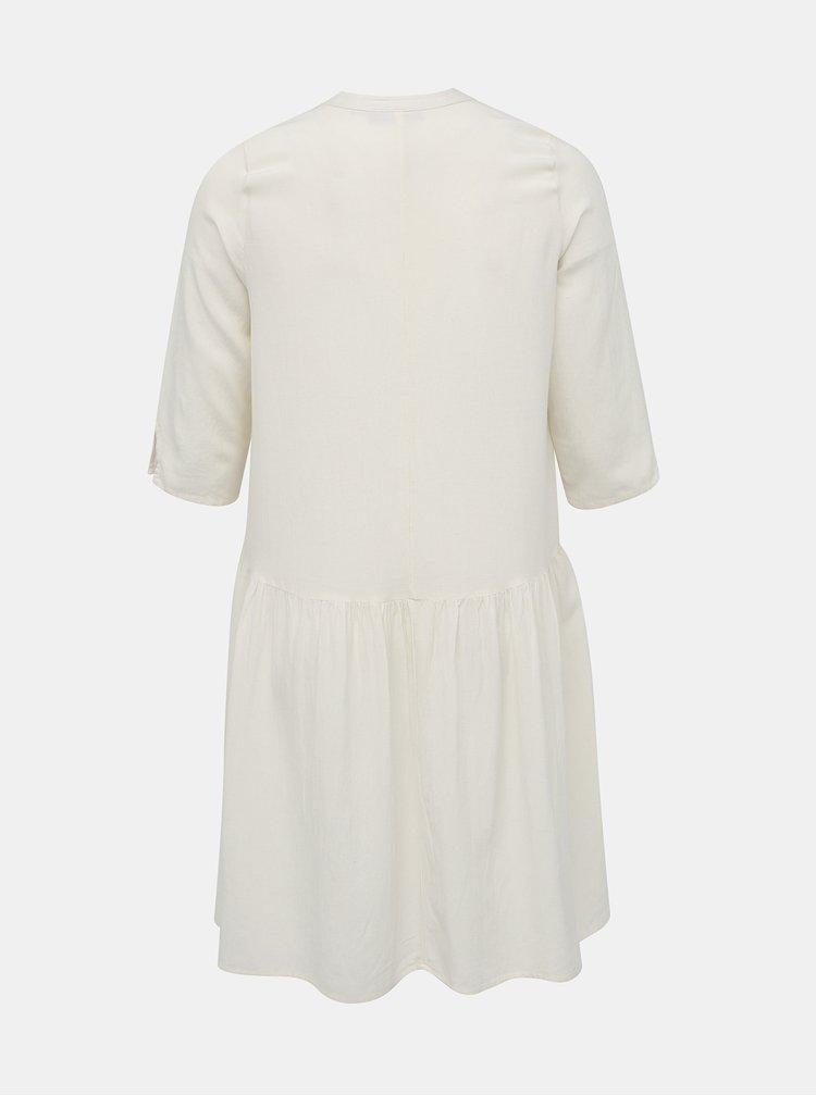 Krémové šaty s příměsí lnu ONLY CARMAKOMA Mira