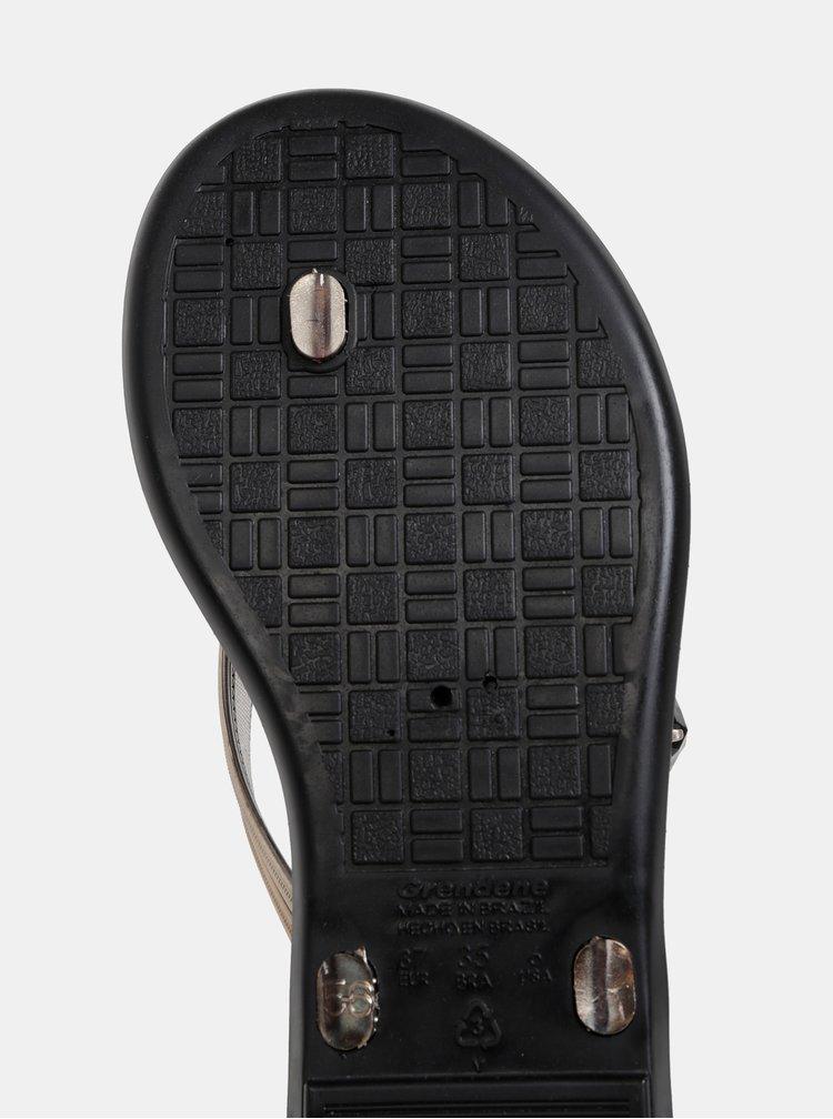 Žabky v černo-zlaté barvě s ozdobnou aplikací Grendha Descolada