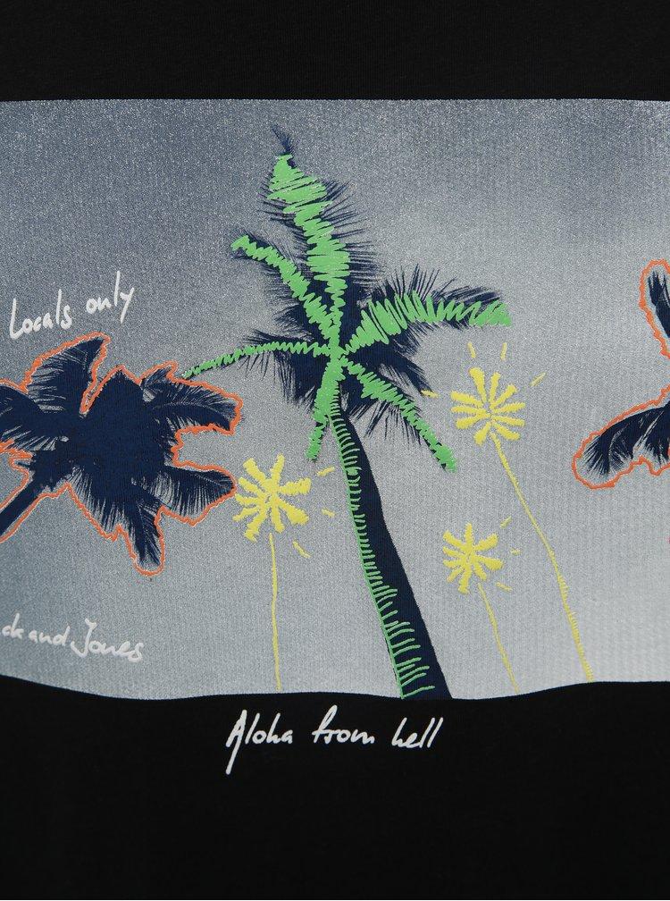 Čierne tričko s potlačou Jack & Jones Sundaze