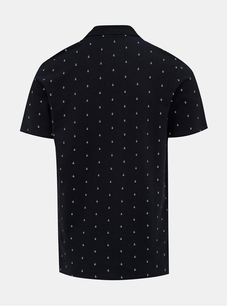 Tmavě modré vzorované polo tričko Jack & Jones Jay