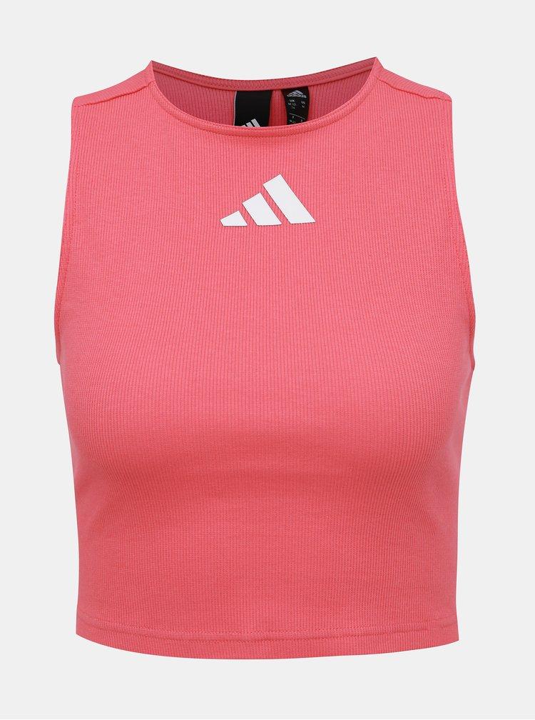 Rúžový dámsky crop top s priestrihom na chrbte adidas Performance