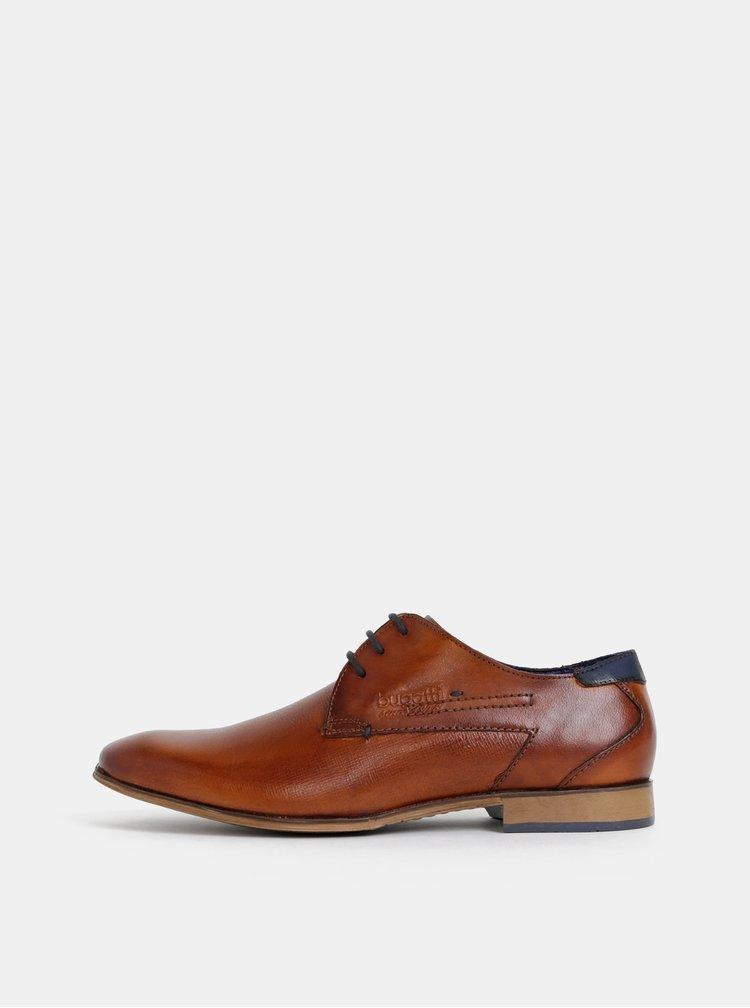 Pantofi maro bugatti Mattia din piele cu logo