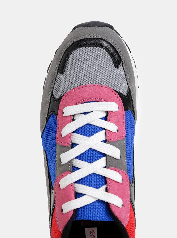 Rúžovo-šedé dámske tenisky s.Oliver
