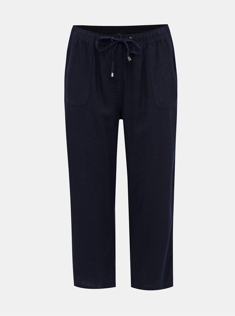 Tmavomodré skrátené ľanové nohavice M&Co Plus