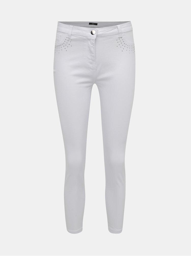 Biele skrátené džíny s ozdobnými detailmi M&Co Petite