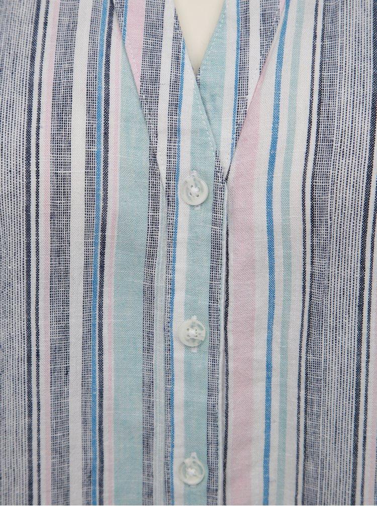 Bílo-modrá dámská pruhovaná lněná halenka M&Co