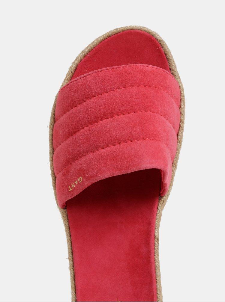Tmavě růžové dámské semišové pantofle na platformě GANT Cape Coral