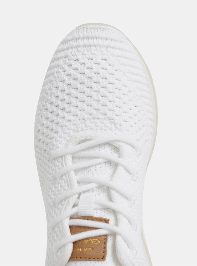 Biele dámske tenisky s koženými detailmi GANT Linda