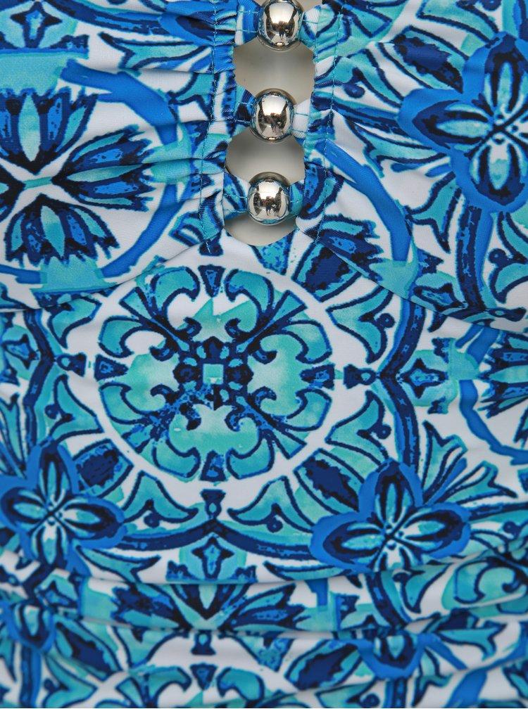 Modré dámske vzorované jednodielne plavky M&Co