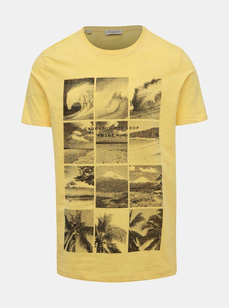 Žluté tričko s potiskem Selected Homme Viktor