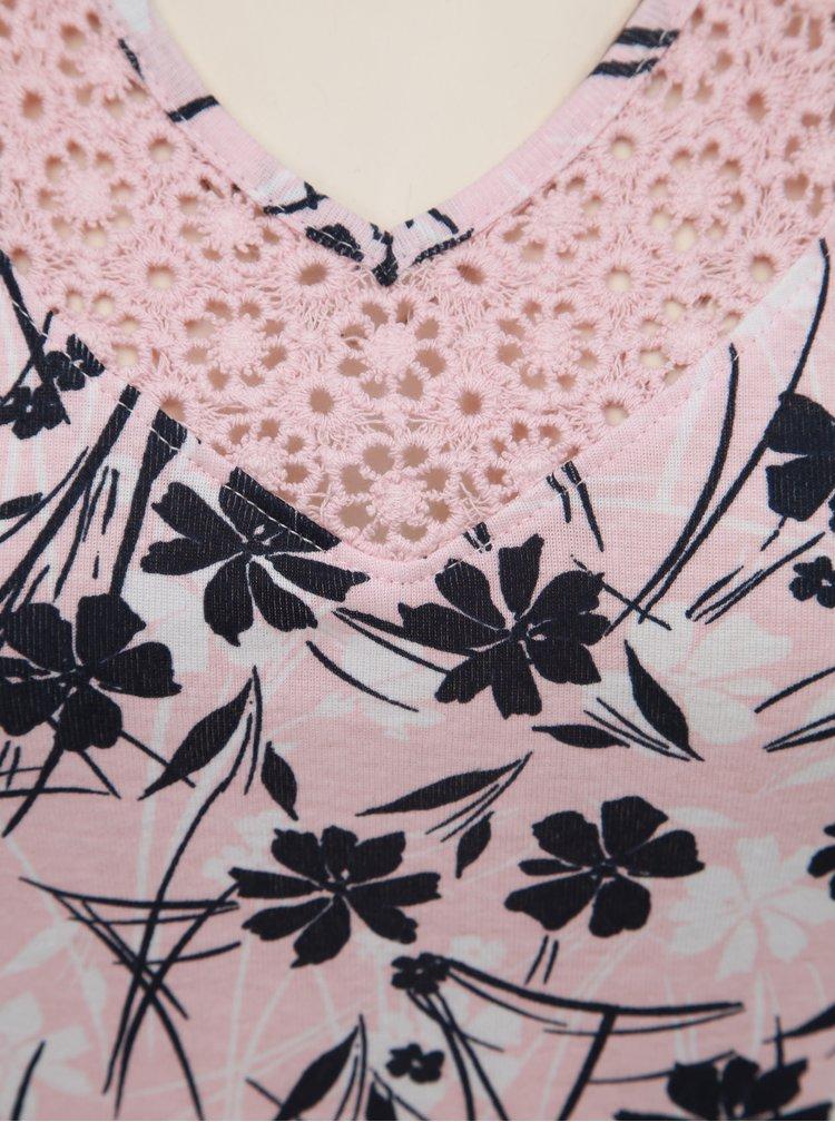 Růžové dámské květované tílko s krajkou M&Co
